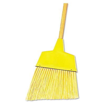 53 in. Wood Handle Plastic Bristles Angle Broom in Yellow (12/Carton)