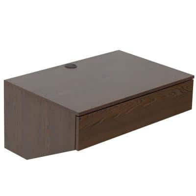28.5 W in. Brown Wall Mounted Office Computer Desk with Drawer