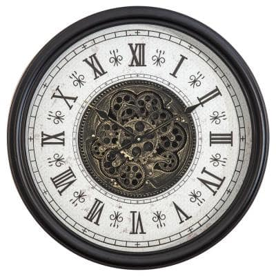 Classic Chic Clock with Gears Black and White Wall Clock