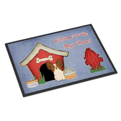 18 in. x 27 in. Indoor/Outdoor Dog House Collection Papillon Red White Door Mat