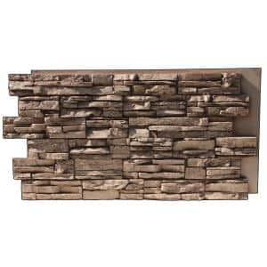 Lightning Ridge 48 in. x 24 in. Class A Fire Rated Faux Stone Siding Panel Finished Cappuccino