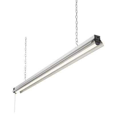 4 ft. 250-Watt Equivalent Integrated LED Silver Shop Light 4000K, Linkable