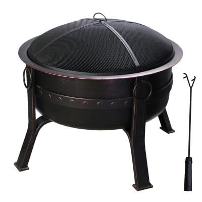 32 in. Dia x 28 in. H Round Steel Wood Burning Fire Pit