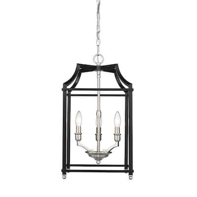 Leighton 3-Light Pewter and Black Pendant Light