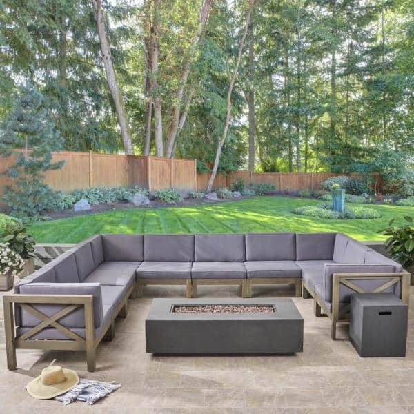 Noble House Brava Dark Grey 12 Piece Wood Patio Fire Pit Sectional Seating Set With Cushions 54594 The Home Depot