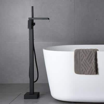 2.4 GPM Floor-Mount Freestanding Tub Faucet with Hand Held Shower and Lever Handle in Matte Black