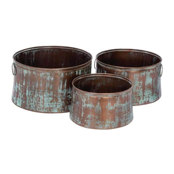 Litton Lane Rustic 14 In 17 In And 20 In Rustic Iron Drum Planters 3 Set 26905 The Home Depot