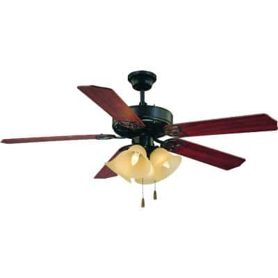 52 in. 4-Light Antique Bronze Ceiling Fan with Light and Reversible Rosewood/Walnut Blades and Sepia Glass Shades