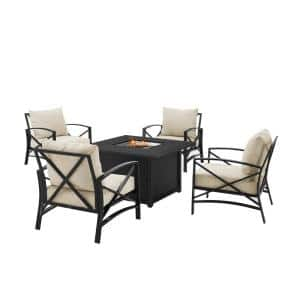 Kaplan Oil Rubbed Bronze 5-Piece Metal Patio Fire Pit Seating Set with Oatmeal Cushions