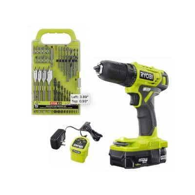 ONE+ 18V Cordless 3/8 in. Drill/Driver Kit with 1.5 Ah Battery and Charger w/ Black Oxide Drill and Drive Kit (31-Piece)