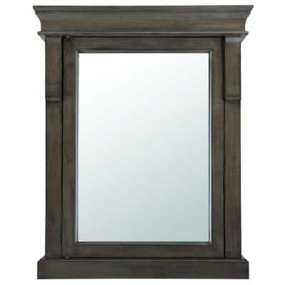 Naples 25 in. W x 31 in. H x 8 in. D Framed Surface-Mount Bathroom Medicine Cabinet in Distressed Grey