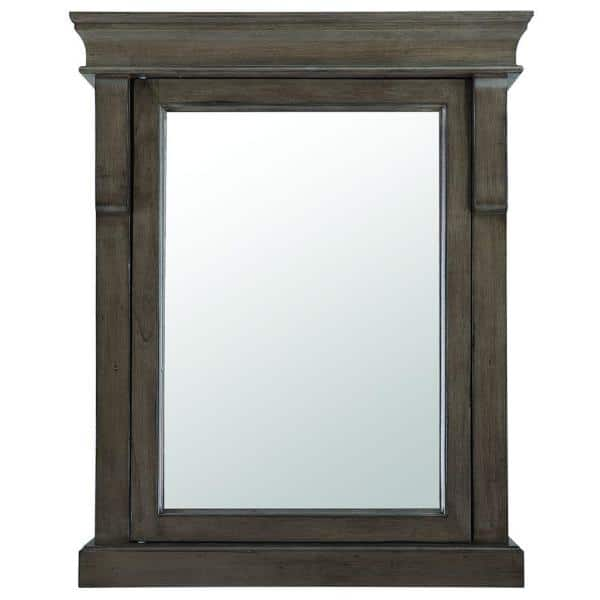 Home Decorators Collection Naples 25 In W X 31 In H X 8 In D Framed Surface Mount Bathroom Medicine Cabinet In Distressed Grey Nadgc2531 The Home Depot