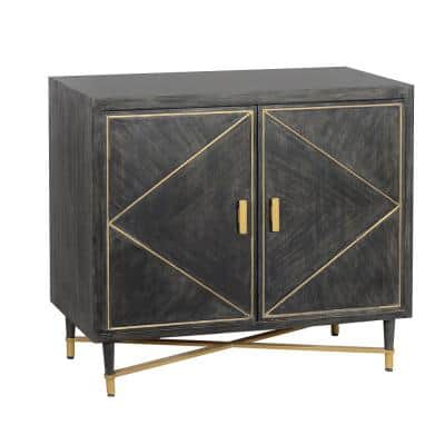 Rustic Style Gray and Gold Mango Wood Cabinet with Dual Door Storage
