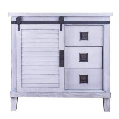 Shelly Distressed Light Grey with a Drawers and Doors Wood Cabinet