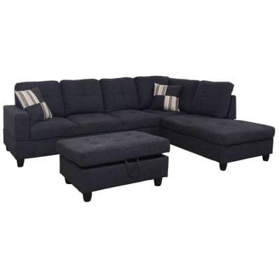3-Piece Jet Black Linen 4-Seater L-Shaped Left-Facing Chaise Sectional Sofa with Ottoman