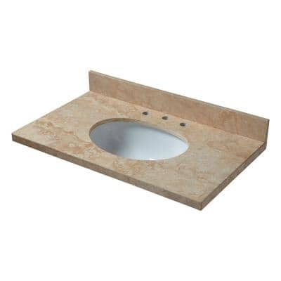 37 in. Travertine Vanity Top in Ivory Select with White Basin