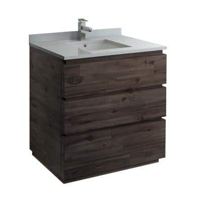 Formosa 36 in. Modern Vanity in Warm Gray with Quartz Stone Vanity Top in White with White Basin