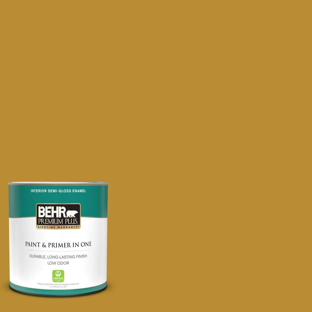Behr Premium Plus 1 Qt 360d 7 Brown Mustard Semi Gloss Enamel Low Odor Interior Paint And Primer In One 330004 The Home Depot