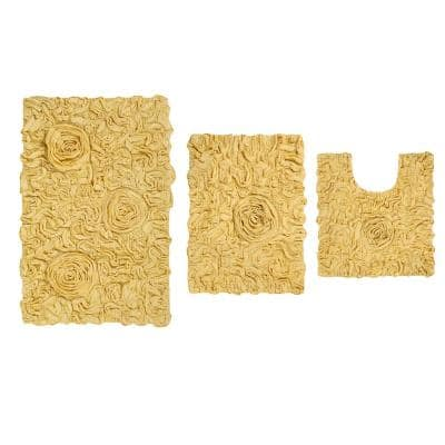 Bell Flower Collection Yellow 17 in. x 24 in. / 21 in. x 34 in. / 20 in. x 20 in. Bath Rug Set