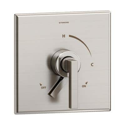Duro 1-Handle Wall-Mounted Valve Trim Kit in Satin Nickel with Volume Control (Valve not Included)