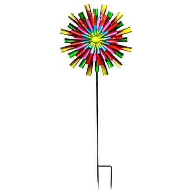 81 in. Tall Outdoor Colorful Flower Wind Spinner Stake Yard Decoration, Multicolor