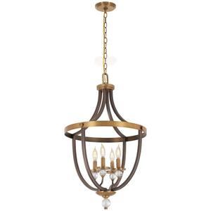 Safra 4-Light Harvard Court Brass with Natural Brushed Brass Pendant