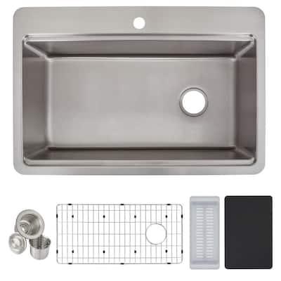 Avenue 18-Gauge Stainless Steel 33 in. Single Bowl Drop-In/Undermount Workstation Kitchen Sink with Drain