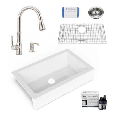 Elevate All-in-One QuickFit Fireclay 33.85 in. Single Bowl Undermount Farmhouse Kitchen Sink w/ Pfister Faucet and Drain