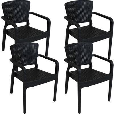 Segonia Black Stacking Plastic Indoor/Outdoor Armchair (Set of 4)