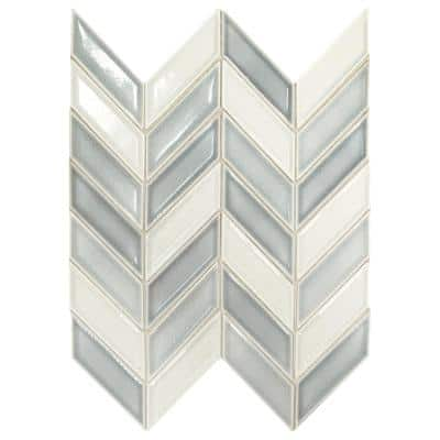 Premier Accents Ice Blue Chevron 9 in. x 12 in. x 8 mm Porcelain Mosaic Wall Tile (0.809 sq. ft./Each)