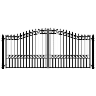 London Style 18 ft. x 6 ft. Black Steel Dual Driveway Fence Gate