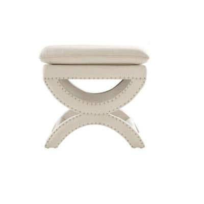 Valencia 19.5 in. H. Upholstered Vanity Stool in Faux Linen Herringbone Natural