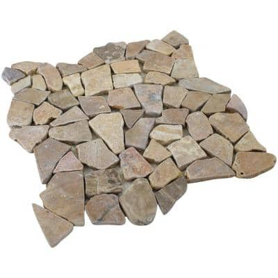 12 in. x 12 in. Tan Stone Mosaic Pebble Floor and Wall Tile (5.0 sq. ft. / case)