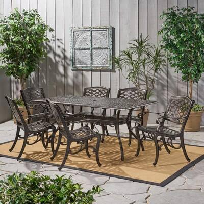 Sarasota Bronze 7-Piece Aluminum Rectangular Outdoor Dining Set