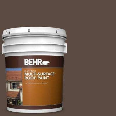 5 gal. #SC-105 Padre Brown Flat Multi-Surface Exterior Roof Paint