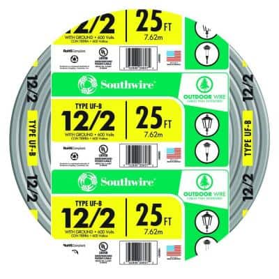 25 ft. 12/2 Gray Solid CU UF-B W/G Wire