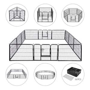 Foldable Metal Wireless Indoor Outdoor Pet Fence Playpen Kit (16-Pieces)