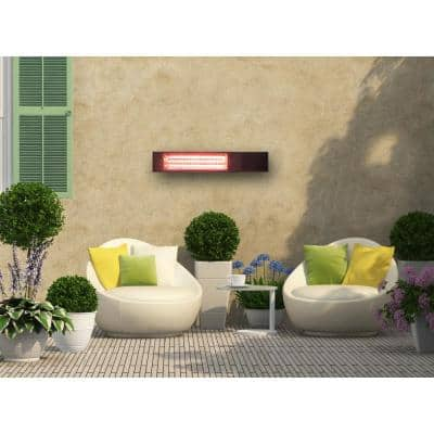 1500-Watt Infrared Wall-Mounted Electric Outdoor Heater with Gold Tube and Remote Control