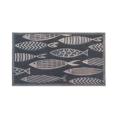 Fish Rubber 18 in. x 30 in. Beautifully Copper Hand Finished, Non-Slip, Durable Heavy Duty Door Mat