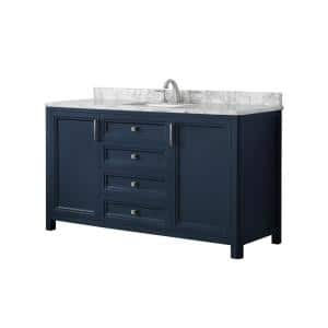Sandon 60 in. W x 22 in. D Bath Vanity in Midnight Blue with Marble Vanity Top in Carrara White with White Basin
