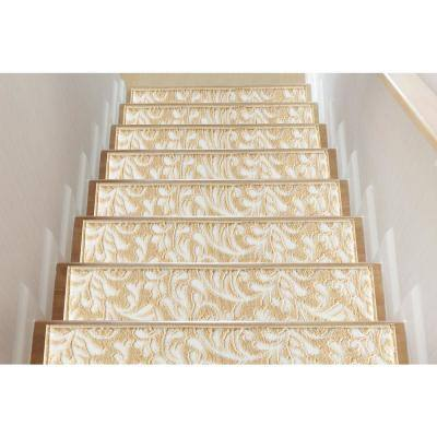 Beige 9 in. x 28 in. Polypropylene Carpet Stair Tread Cover (Set of 13)