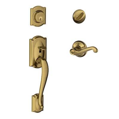 Camelot Antique Brass Single Cylinder Deadbolt with Left Handed Flair Lever Door Handleset