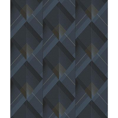 Raoul Navy Fanning Diamonds Wallpaper Sample