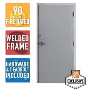 36 in. x 84 in. Fire-Rated Gray Left-Hand Flush Steel Prehung Commercial Door with Welded Frame, Deadlock and Hardware