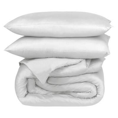 A1HC GOTS Certified Organic Cotton, Percale Weave, 300TC, Single Ply, 2-Piece White Twin Duvet Set