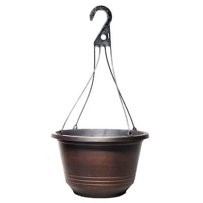 12.5 in. Warm Copper Plastic Torino Hanging Basket