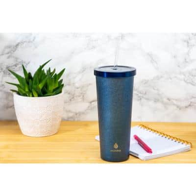Glitter 24 oz. Stainless Steel Chilly Sapphire Tumbler