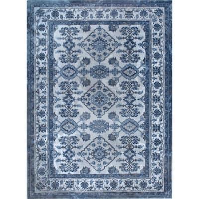 Bazaar Gray/Blue 8 ft. x 10 ft. Synthetic Area Rug