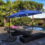 10 ft. Market Solar Offset Outdoor Patio Umbrella in Navy