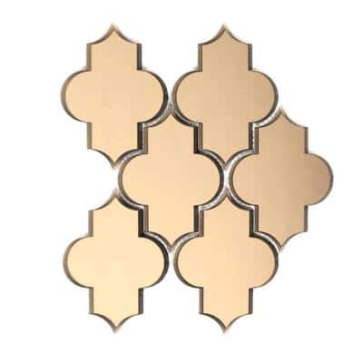 Reflections Gold Beveled Small Lantern Arabesque Mosaic 4 in. x 6 in. Glass Mirror Wall Tile (15.3 Sq. Ft./Case)